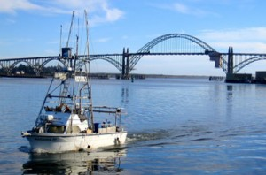 Yaquina Bay Bridge with Fishing Boat - Newport, Oregon